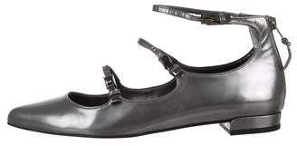 Stuart Weitzman Patent Leather Pointed-Toe Flats