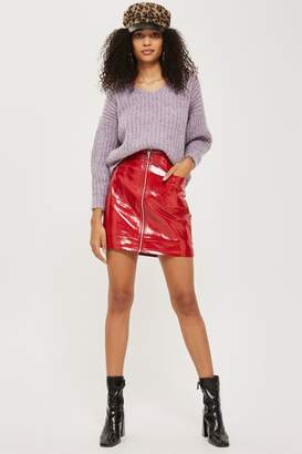 Topshop TALL Cracked Vinyl Zip Mini Skirt