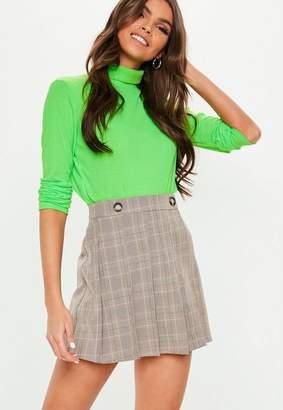 Missguided Brown Plaid Button Detail Skater Skirt