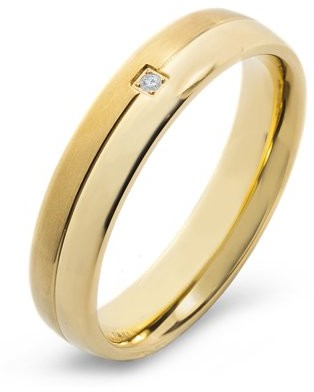 Crucible Gold Plated Titanium 0.02 CTW Diamond Grooved Band (H-I, SI2)
