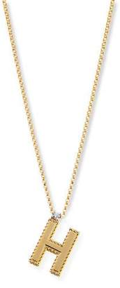 Roberto Coin Princess 18K Yellow Gold Diamond Initial Necklace, H