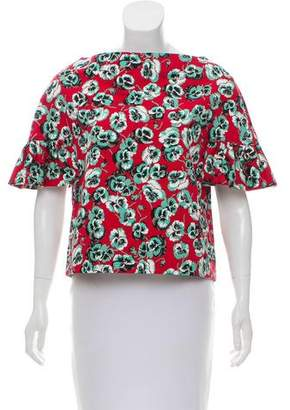 Marni Ruffle-Trimmed Floral Print Top w/ Tags