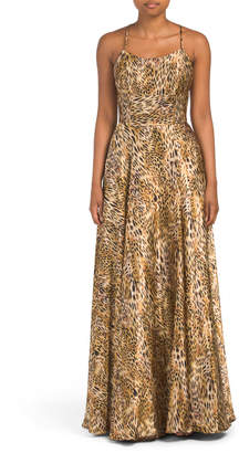 Made In Usa Animal Print Satin Gown