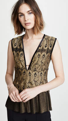 Yigal Azrouel Golden Lace Top with Pleats
