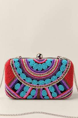 francesca's Everly Beaded Hard Case Clutch - Red