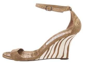 Manolo Blahnik Canvas Wedge Sandals
