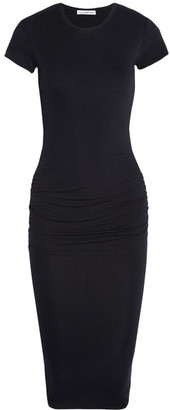 James Perse - Classic Ruched Stretch-cotton Jersey Dress - Midnight blue $225 thestylecure.com