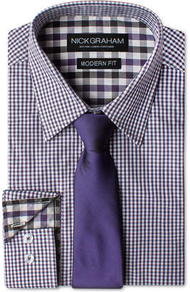 Nick Graham Men's Modern Fitted Gingham Dress Shirt & Dot Tie Set