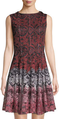 Gabby Skye Sleeveless Printed-Lace Fit-&-Flare Dress