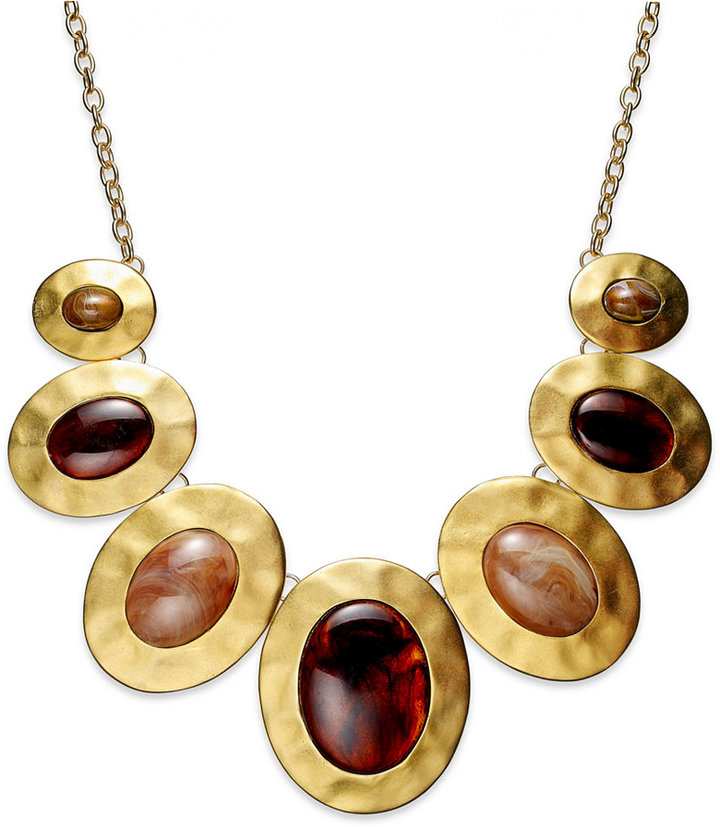Style&Co. Necklace, Gold-Tone Hammered Pendant Statement Necklace