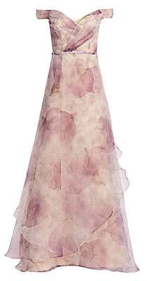 Rene Ruiz Collection Women's Floral Organza Off-The-Shoulder Gown