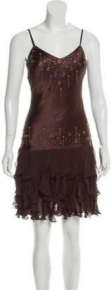 Sue Wong Silk Embellished Ruffle-Accented Dress