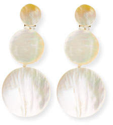 Viktoria Hayman Triple-Drop Mother-of-Pearl Disc Earrings