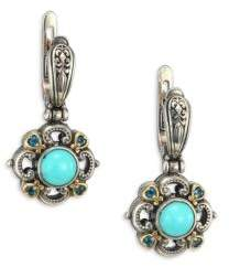 Konstantino Hermione Turquoise, London Blue Topaz, 18K Yellow Gold & Sterling Silver Small Drop Earrings