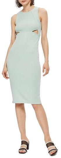 TopshopWomen's Topshop Cutout Ribbed Body-Con Dress