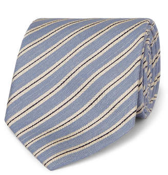 Brioni 8cm Striped Silk And Linen-Blend Tie