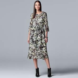 Vera Wang Women's Simply Vera Floral Chiffon Layered Peasant Dress