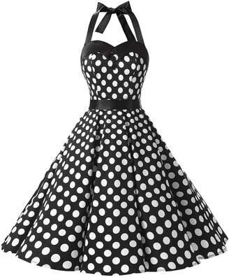 Dressystar Vintage Polka Dot Retro Cocktail Prom Dresses 50's 64's Rockabilly Bandage XL