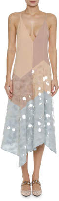 Bottega Veneta Plunging V-Neck A-Line Camisole Dress with Large Paillettes