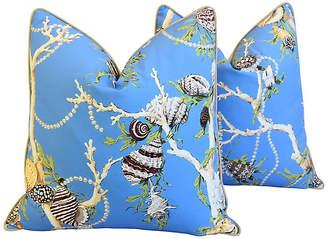 One Kings Lane Vintage Blue Nautical Coral & Shells Pillows - Pr