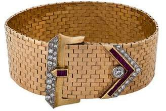 Retro Diamond & Ruby Belt Buckle Bracelet