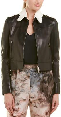 Valentino Scalloped Collar Leather Jacket