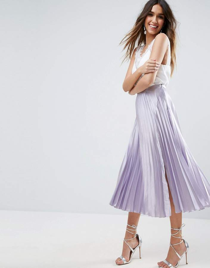 AsosASOS Satin Pleated Midi Skirt with Thigh Split