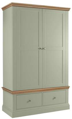 Corndell Debenhams - Oak And Pale Green 'Oxford' Double Wardrobe With Drawers