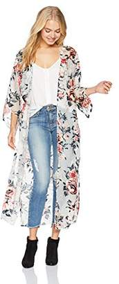 Angie Women's Velvet Burnout Duster Kimono
