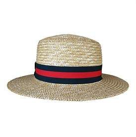 Ace of Something Straw Braid Boater With Navy/Red Stripe Band