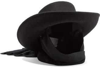 CLYDE Gambler Jersey-trimmed Wool-felt Hat - Black