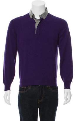 Brunello Cucinelli Cashmere Long Sleeve Polo