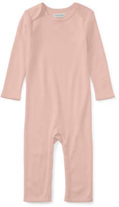 Ralph Lauren Pointelle Cotton Coverall, Pink, Size Newborn-9 Months