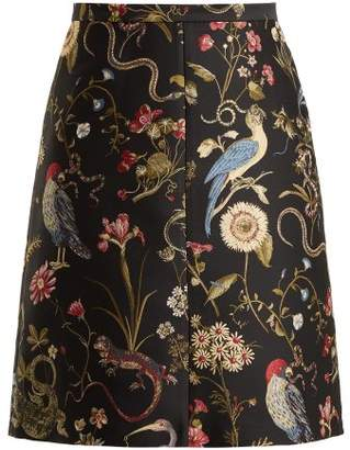 RED Valentino Floral Jacquard A Line Skirt - Womens - Black Multi