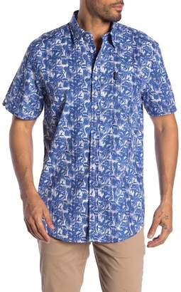 Ben Sherman Tropical Plaid Print Short Sleeve Regular Fit Shirt