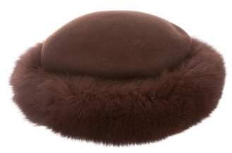 Fox Fur-Trimmed Mink Felt Hat