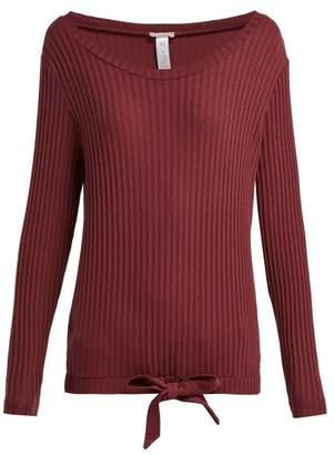 Hanro Minna Ribbed Cotton Blend Pyjama Top - Womens - Burgundy