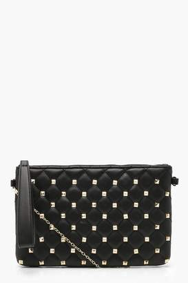 boohoo Square Stud & Quilt Clutch & Chain