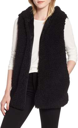 Trouve Faux Shearling Hooded Vest