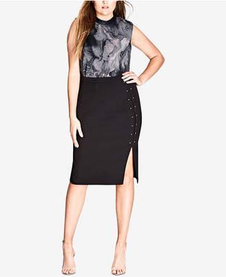 City Chic Trendy Plus Size Sharp Stud Skirt
