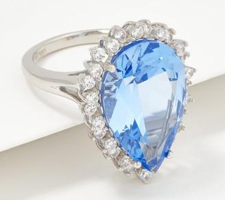 Diamonique TOVA Simulated Aquamarine Ring Sterling Silver