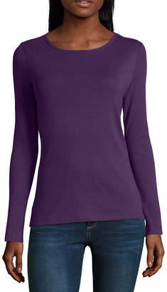 Liz Claiborne Womens Crew Neck Long Sleeve T-Shirt