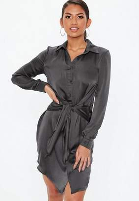 Missguided Dark Gray Tie Waist Shirt Dress