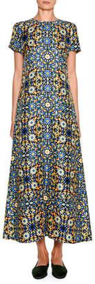Double J Short-Sleeve Floral Swing Maxi Dress
