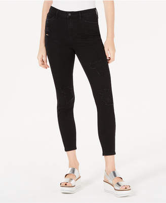 Vanilla Star Juniors' Ripped Black High-Rise Skinny Jeans