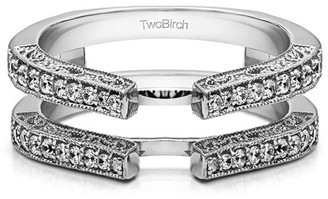 TwoBirch Brilliant Moissanite Mounted in Sterling Silver Cathedral Style Ring Guard with Millgrained (0.21ctw)