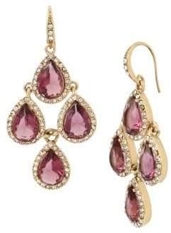 Miriam Haskell Basic Ears Crystal and Amethyst Chandelier Earrings