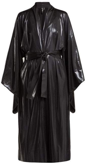 Belted Lame Robe - Womens - Black