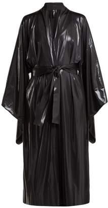 Norma Kamali Belted LamA Robe - Womens - Black