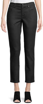 Eileen Fisher Petite Coated Skinny Ankle Jeans, Black